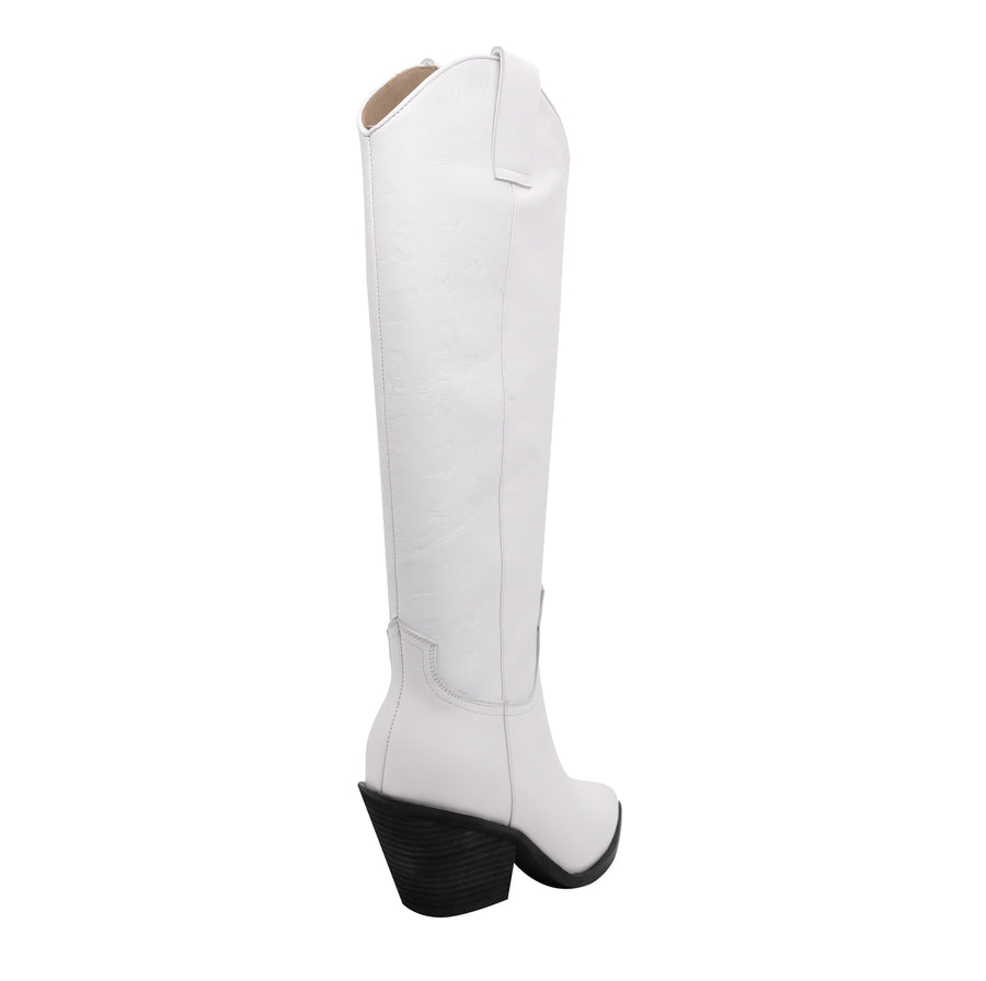 White Logo Leather Boots
