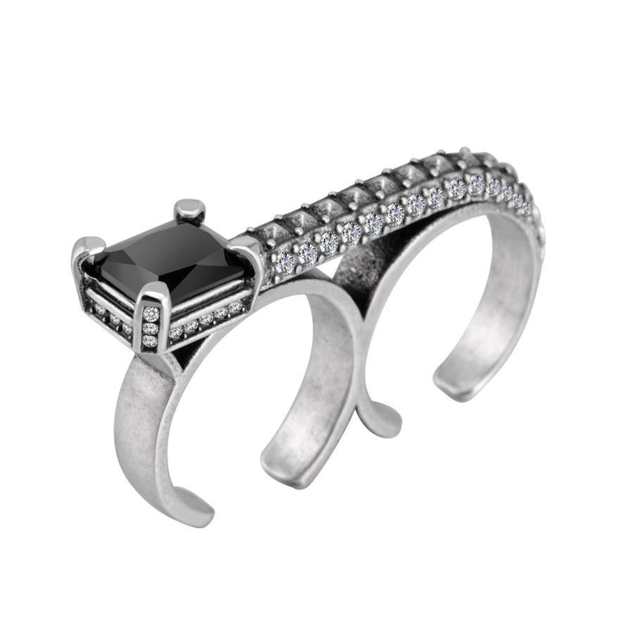 Herald Sterling Double Finger Ring W Black Crystal