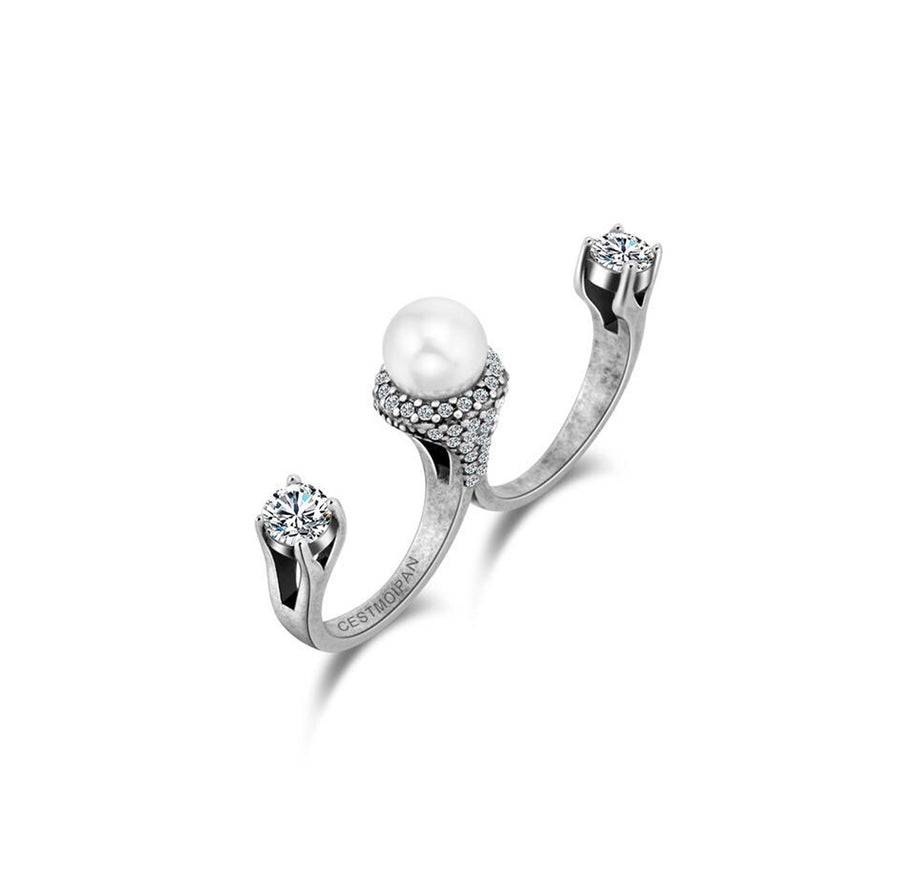 Dual 2 Sterling Silver Pearl Fingers Ring