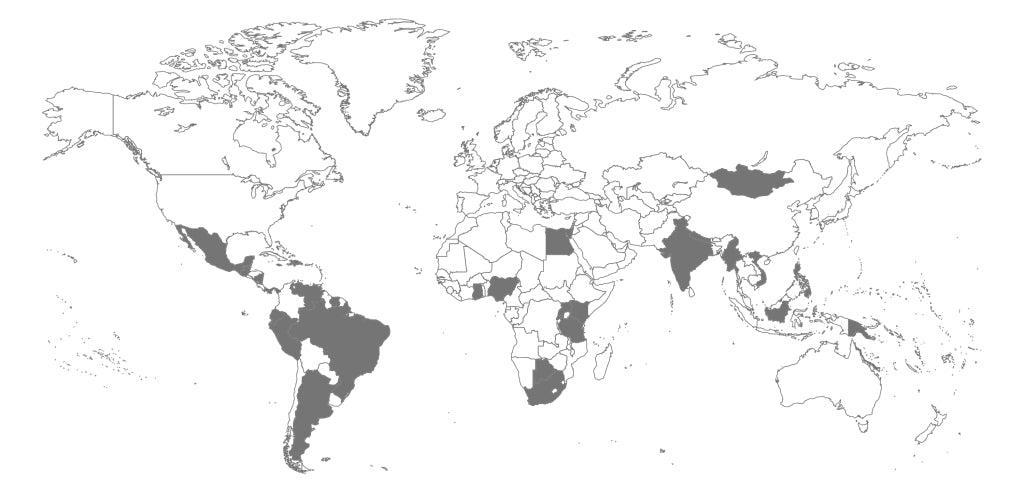 A map of the world showing where FIGs have donated scrubs.