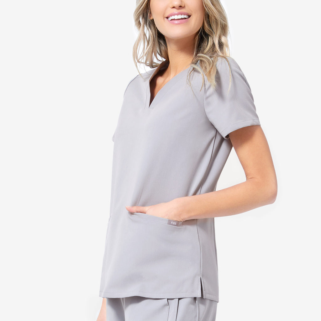 Women's Cement Casma   Three Pocket Scrub Top by Figs