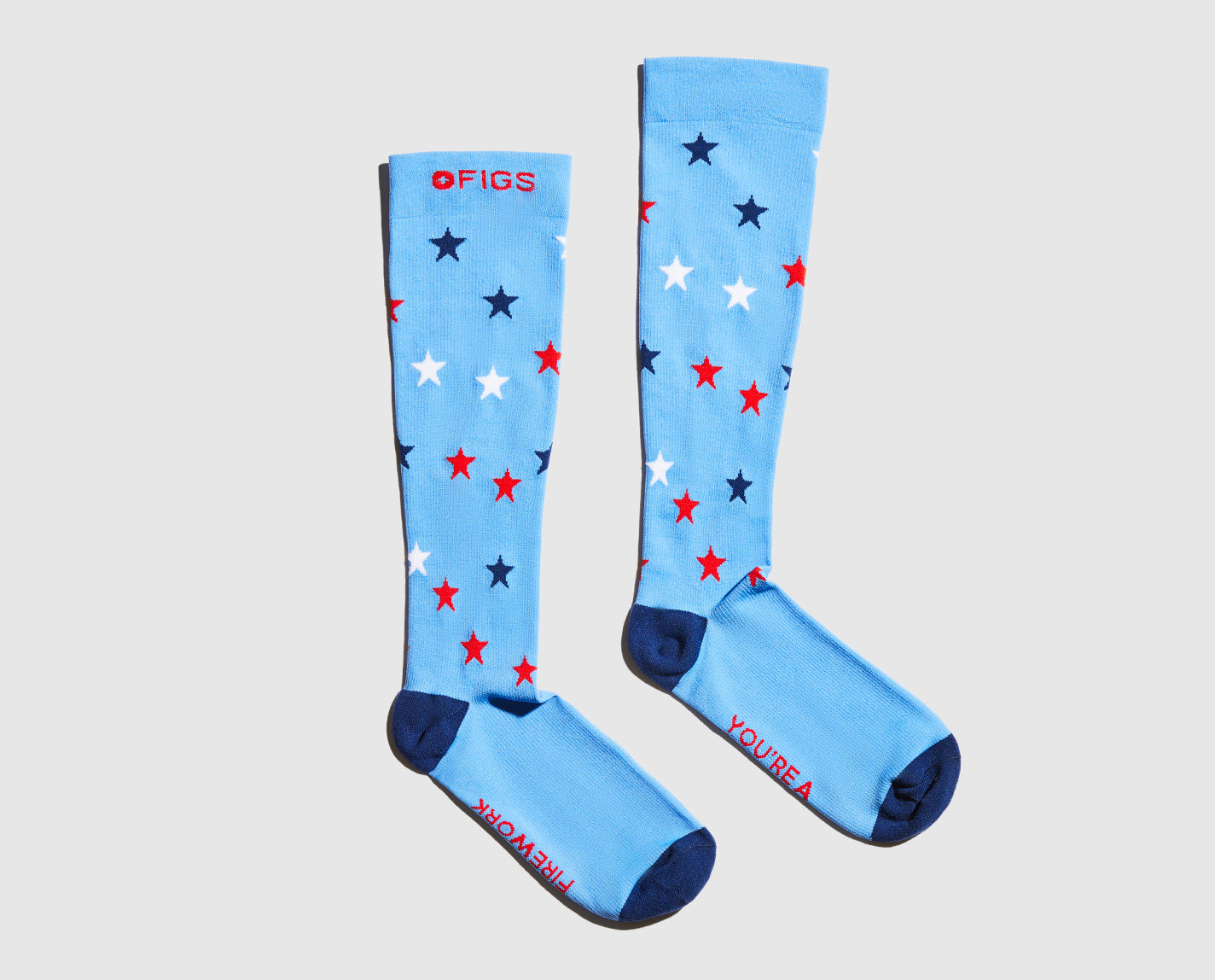 Light it up. It's always time to celebrate in these Fireworks Compression Socks, featuring 360° seamless compression and FIONdry moisture-wicking technology that keeps your feet cool even during those hot summer shifts.