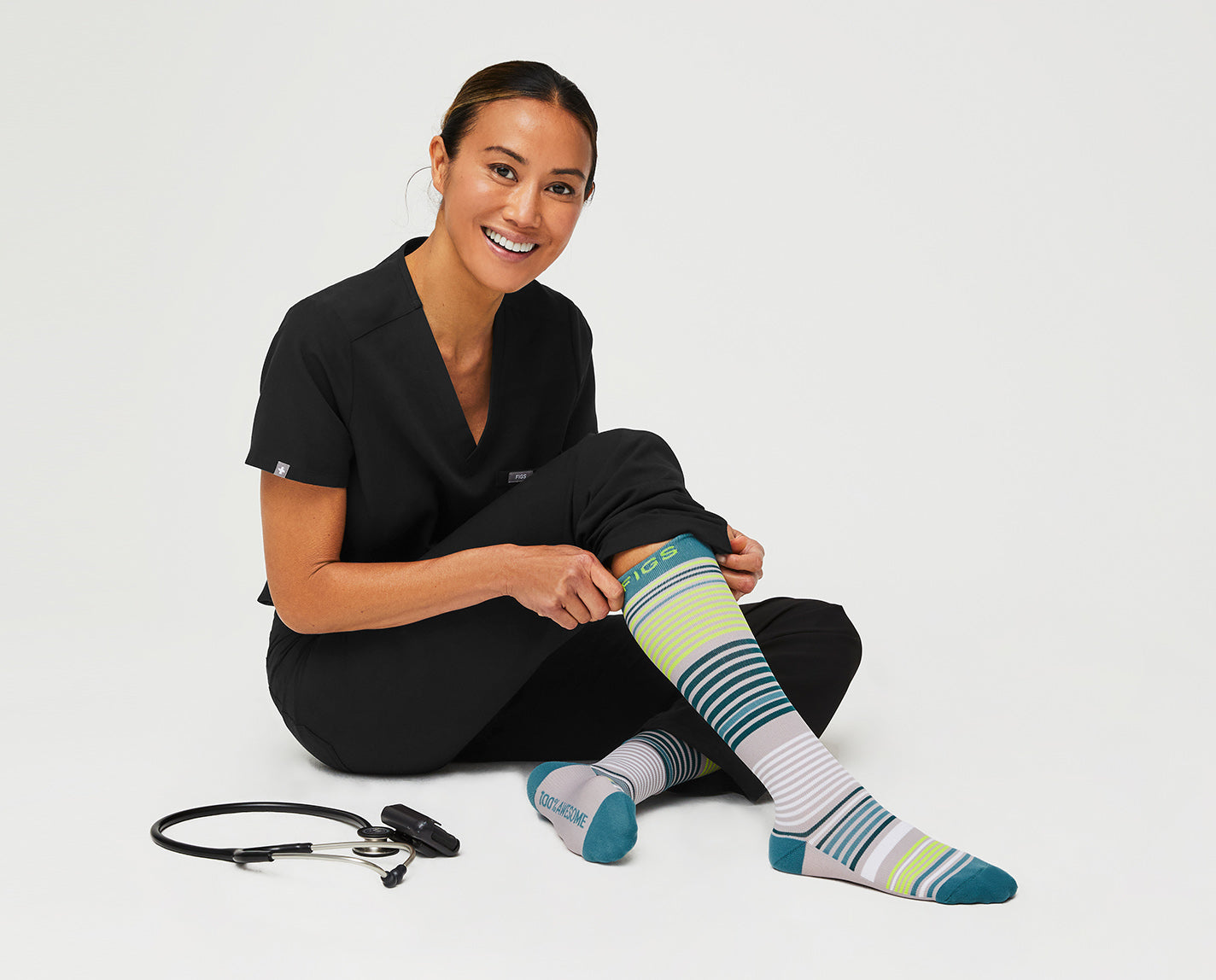 We couldn't stop at just one set of stripes. 100% Awesome Compression Socks that are breathable and ridiculously soft.