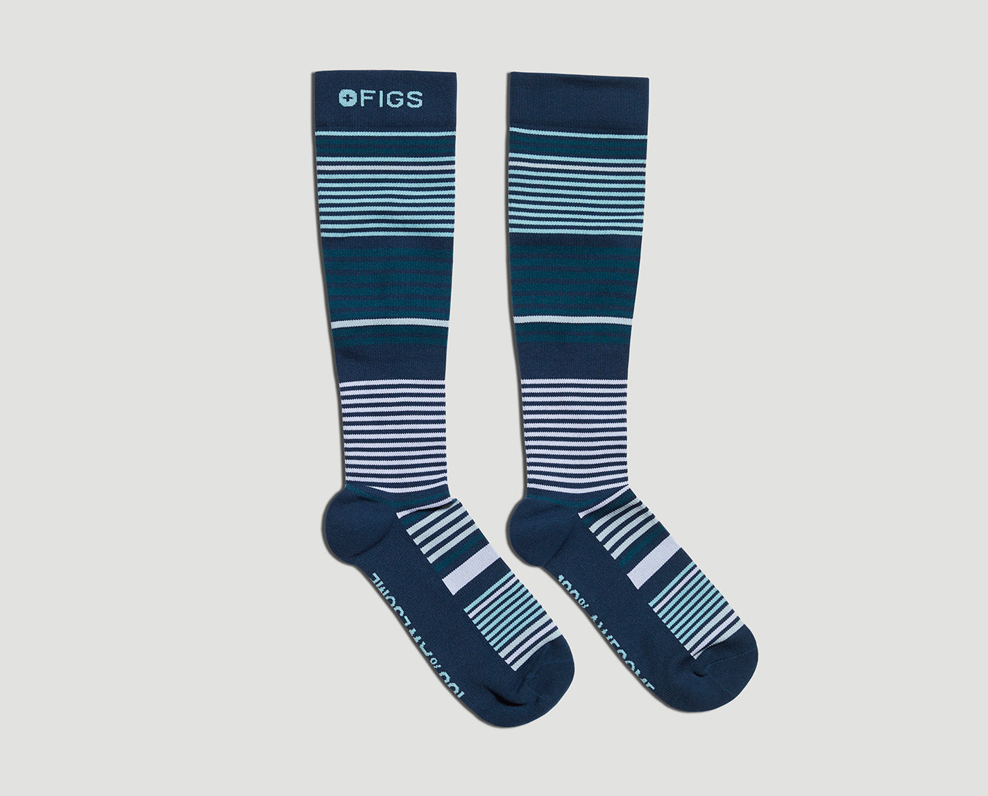 We couldn't stop at just one set of stripes. 100% Awesome Compression Socks. A classic multi stripe that helps relieve tired and achy legs. Plus they're breathable and ridiculously soft.