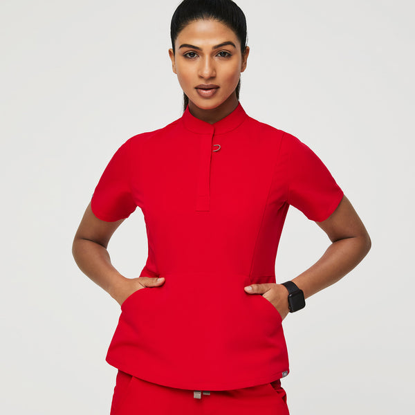 Insiza Slim Mandarin Collar Scrub Top