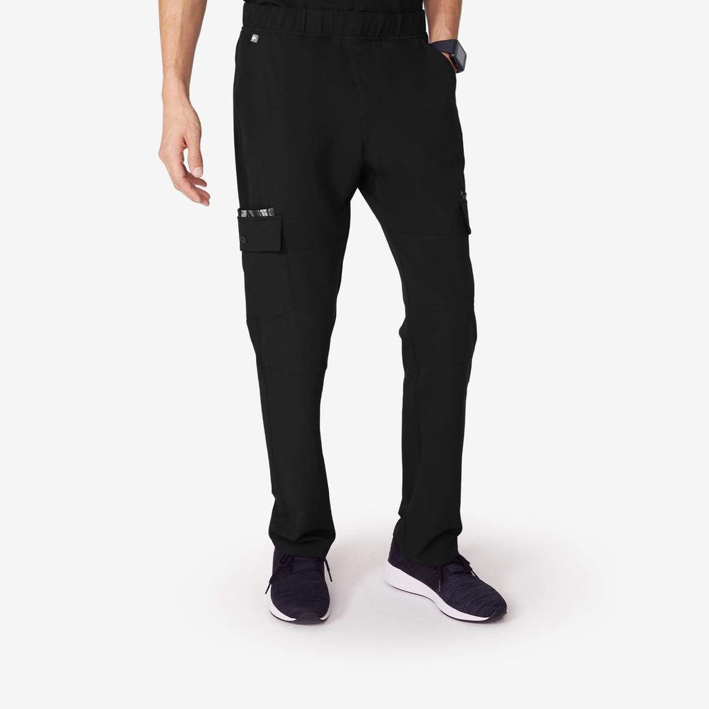 Men's Black Manta   Slim Cargo Scrub Pants by Figs