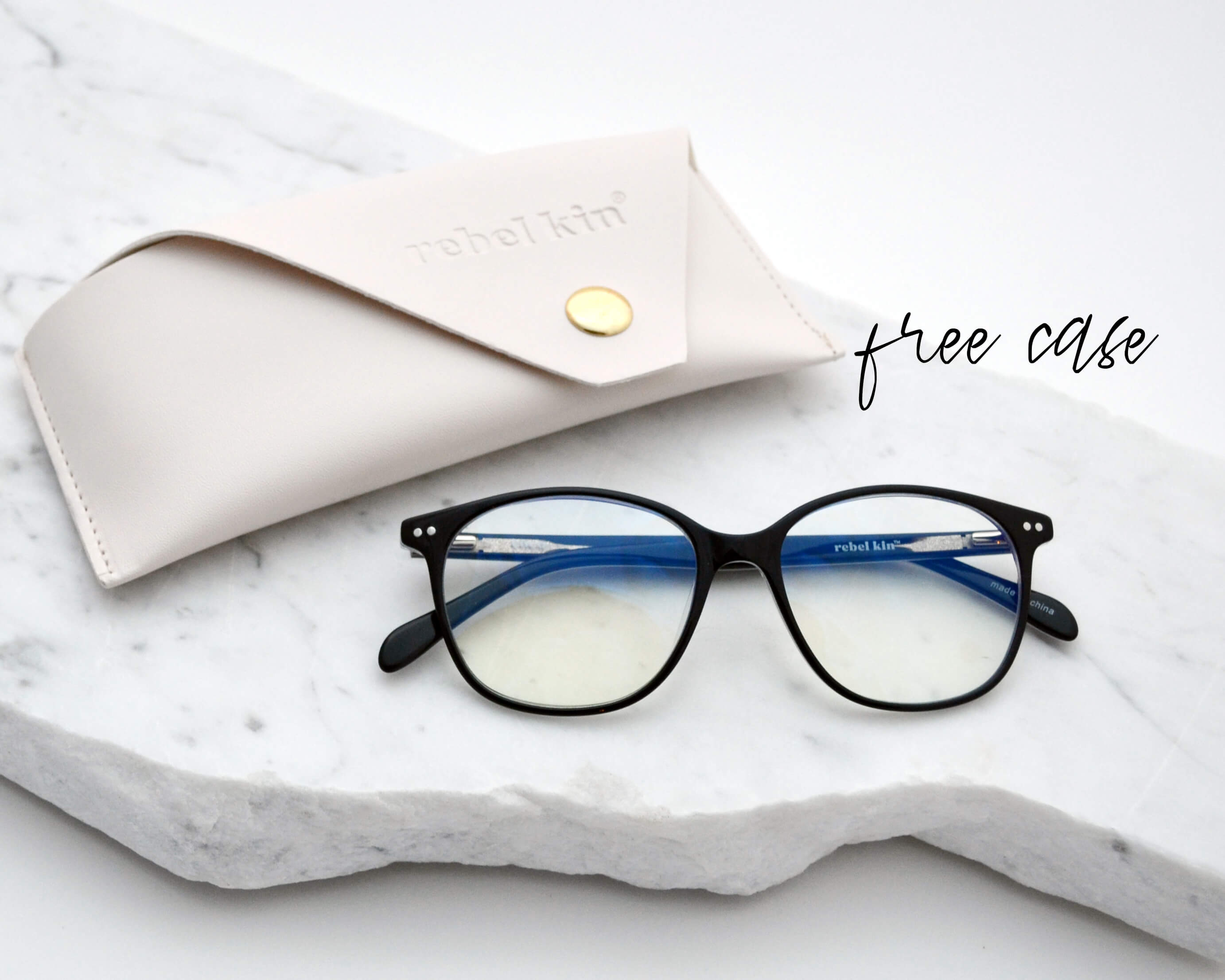 """COCO"" Blue Light Blocking Glasses Rebel Kin  - round wayfarer style - classic shape glasses - clear lenses with blue light blocking technology"