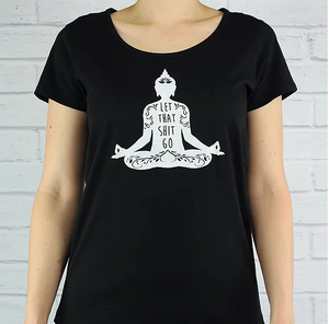 Flow Buddha Black Rolled Sleeved Tee