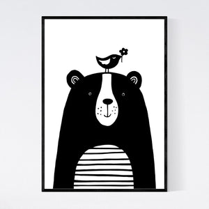 Happy Bear and Bird Print