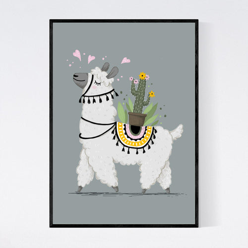 Lovable Lama with a Cactus Print