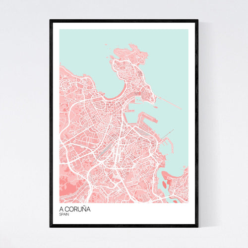Map of A Coruña, Spain