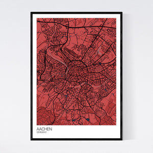 Aachen City Map Print