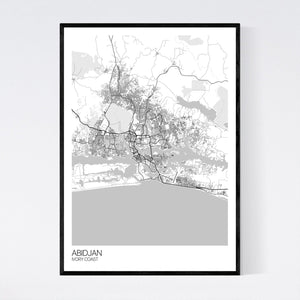 Abidjan City Map Print
