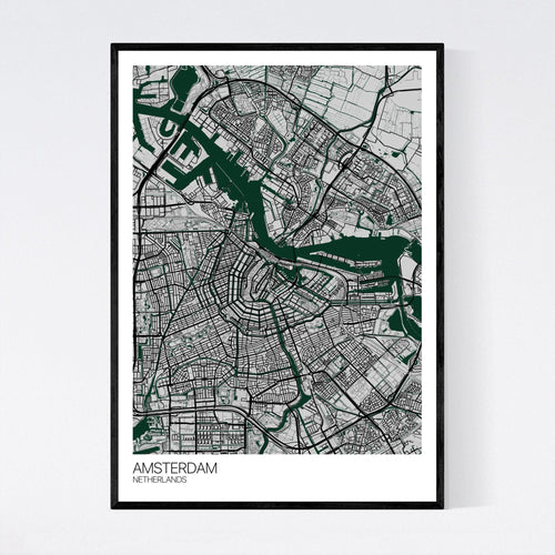 Map of Amsterdam, Netherlands