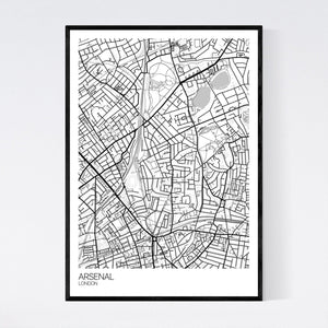 Arsenal Neighbourhood Map Print