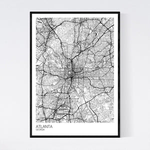 Atlanta City Map Print
