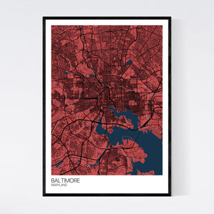 Baltimore City Map Print