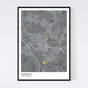 Map of Barnsley, United Kingdom