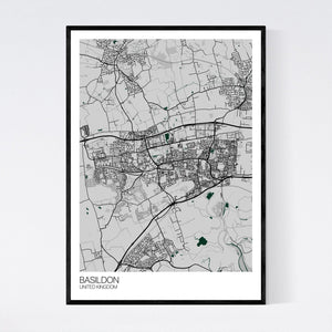 Basildon City Map Print