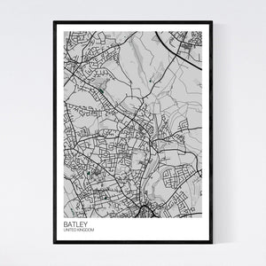 Batley City Map Print