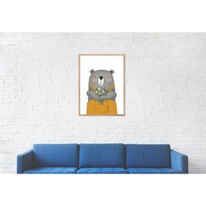 Bear with Flowers Print