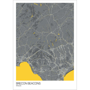 Map of Brecon Beacons, Wales
