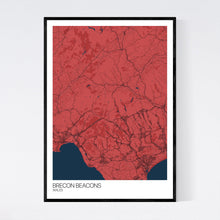 Load image into Gallery viewer, Brecon Beacons Region Map Print