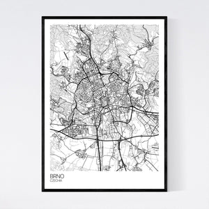 Brno City Map Print