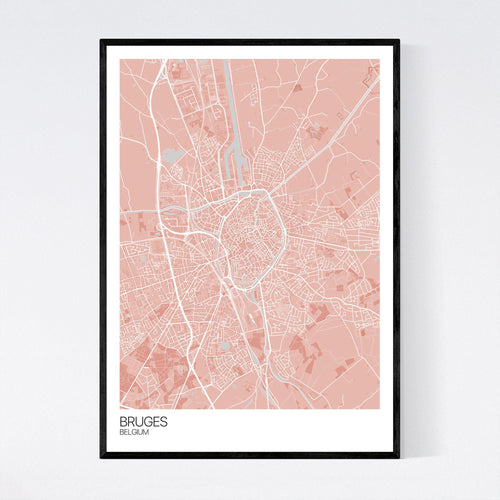 Map of Bruges, Belgium
