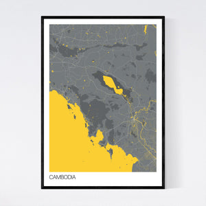 Cambodia Country Map Print