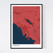 Load image into Gallery viewer, Cambodia Country Map Print