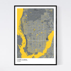 Cape Coral City Map Print