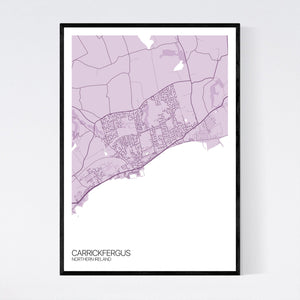 Carrickfergus Town Map Print