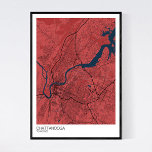 Chattanooga City Map Print