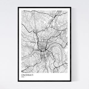 Cincinnati City Map Print