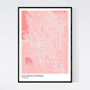 Colorado Springs City Map Print