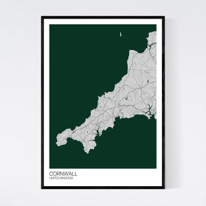 Map of Cornwall, United Kingdom