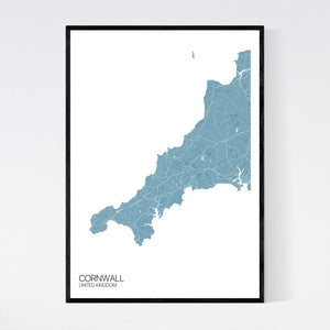 Cornwall Region Map Print