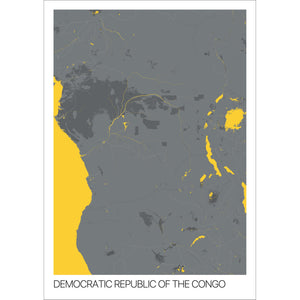 Map of Democratic Republic of the Congo,
