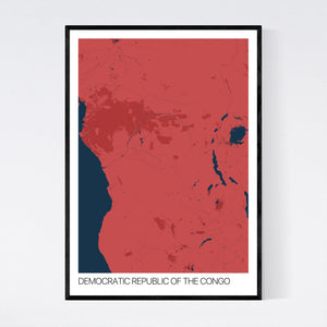 Democratic Republic of the Congo Country Map Print