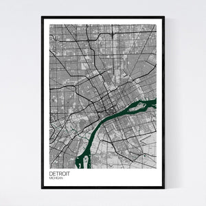 Detroit City Map Print