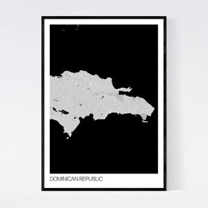 Dominican Republic Country Map Print