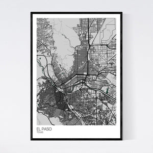 El Paso City Map Print