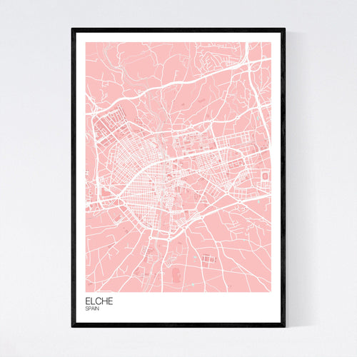 Map of Elche, Spain