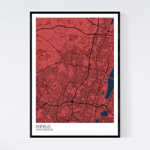 Enfield City Map Print
