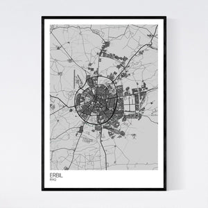 Erbil City Map Print