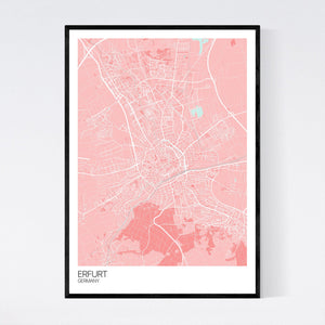 Erfurt City Map Print