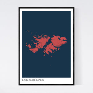 Falkland Islands Island Map Print
