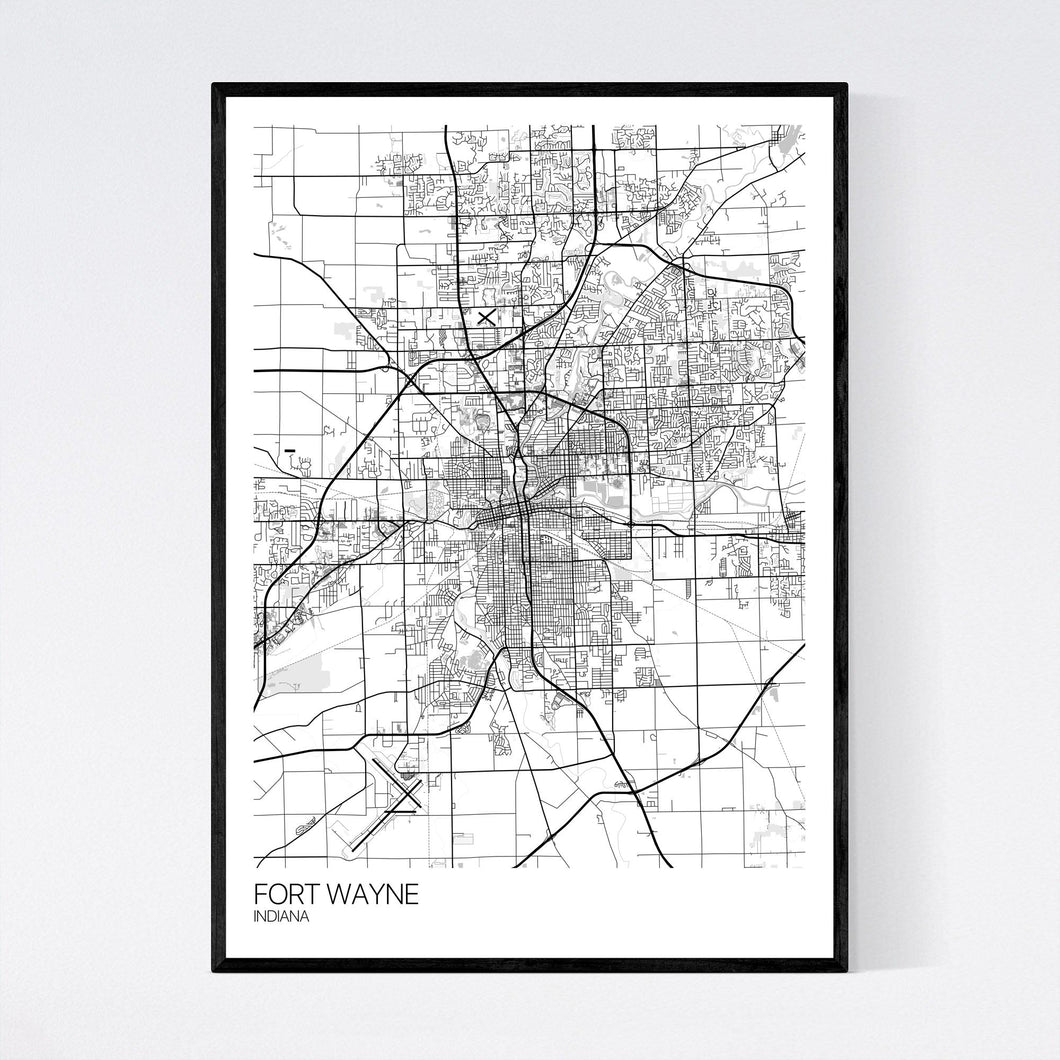 Fort Wayne City Map Print