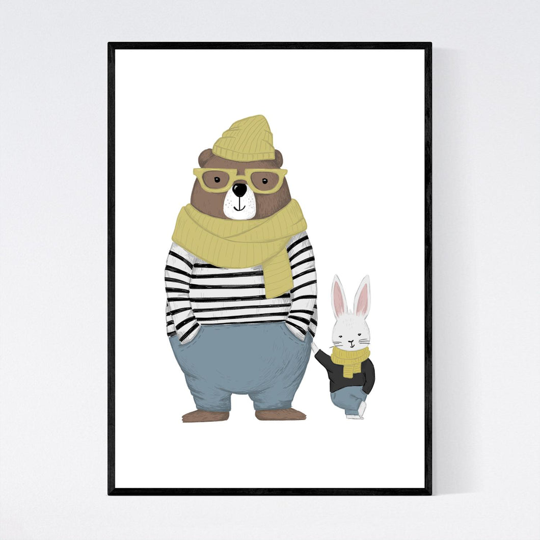 Bear and Rabbit Friends Print